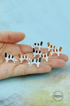 Cavalier King Charles spaniel earrings- mini ceramic dogs