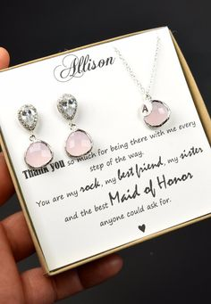 Blush pink Bridesmaid jewelry set -personalized See more here: https://www.etsy.com/ca/listing/451419622/blush-pink-silver-goldbridesmaids?ref=shop_home_active_2