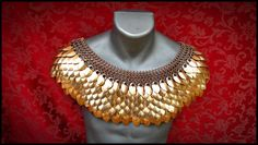 """Mini-Deluxe Scale Mail Chain mail Mantle Pure Bronze collar Dragon Scale Steampunk Cosplay LARP $620.00 USD  From """"World In Chains Chainmaille Armor, Jewelry, and Accessories"""""""