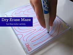 dry erase maze fine motor skills - draw different mazes on paper, put in a CD case and then give him dry erase markers to try to complete the maze with Visual Motor Activities, Literacy Activities, Preschool Activities, Handwriting Activities, Cd Crafts, Pre Writing, Kindergarten, Fine Motor Skills, Maze