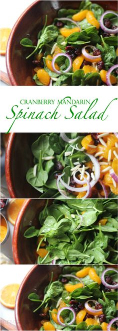Cranberry Mandarin Spinach Salad~comes together in minutes!