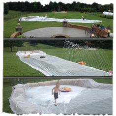 Bored this summer? Learn to make your own backyard waterpark with PVC pipes, pool noodles, sprinklers, more! With these ideas, nothing can go wrong! Backyard Games, Outdoor Games, Outdoor Fun, Outdoor Activities, Water Slides Backyard, Backyard Splash Pad, Water Activities, Summer Activities, Family Activities