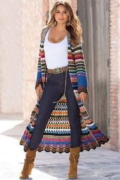 Ideas For Crochet Poncho Cardigan Sweater Coats Crochet Coat, Crochet Jacket, Crochet Cardigan, Crochet Shawl, Crochet Clothes, Crochet Ruffle, Crochet Sweaters, Kimono Cardigan, Mode Outfits