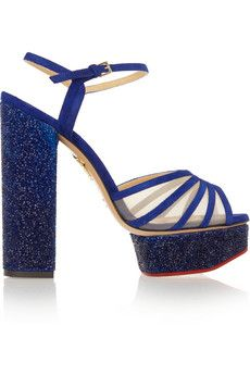 Charlotte Olympia Lizzie embellished suede and mesh platform sandals   THE OUTNET