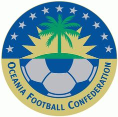 Oceania Football Confederation Primary Logo (1998) - Island in a starburst over half of soccer ball in a circle with white stars