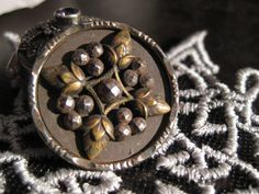 Vintage Acorn And Berry Motiff Metal and Steel Cut Button