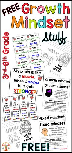 FREE! Are you teaching your students and growth mindset and fixed mindset? This FREE product includes engaging student activities and resources to help teachers with growth mindset concepts. It includes growth mindset vocabulary cards, bookmarks, cards, a poster, growth mindset reflection booklets, and tips for the teacher! Better yet, it's FREE!