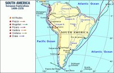 South America explorations, 1499-1578