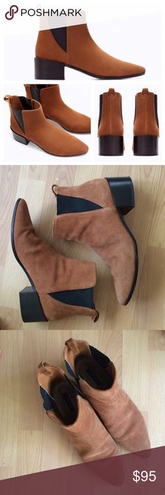 """Zara suede ankle boots Gorgeous brown suede Zara Basic Collection ankle boots. Elastic side paneling. Stacked 2"""" heel. Somewhat pointed toe. Sorry I do not model items. Gently preowned, as shown light wear but overall very good condition with a TON of life left. Shaft height 4.25"""". A little wear to the inside lining slightly. Price pretty firm but fair offers are considered. Size 39, I'm an 8.5 and they fit me perfectly. (BUT if you want to wear socks with them though I'd size down half a…"""