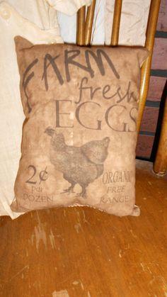 Farm Fresh Eggs  Feed Sack Pillow by DownOnCrippleCreek on Etsy, $9.99
