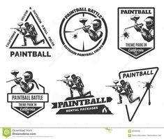 Set Of Monochrome Paintball Logos Stock Vector - Illustration of icon, badge: 69466988