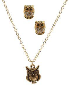 Owl Charm Necklace & Earrings Set