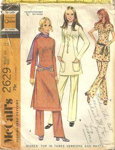 Classy Patterns - McCalls 2629 Vintage 70s Misses Twiggy Mod Long Tunic Dress Pants Sewing Pattern Size 12