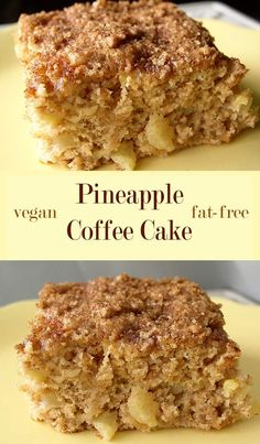 Not only is this vegan pineapple coffee cake completely free of added fats it also uses no white flour at all and contains very little sugar. The post Pineapple Coffee Cake Pineapple Coffee Cake Recipe, Pineapple Desserts, Pineapple Recipes Vegan, Vegan Dessert Recipes, Whole Food Recipes, Eggless Desserts, Fat Free Recipes, Fat Free Bread Recipe, Vegan Coffee Cakes