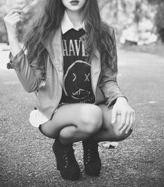Radioactive Unicorns Sky | via Tumblr | We Heart It leather coat - tank top- shorts - street style - fashion - perfection - outfit