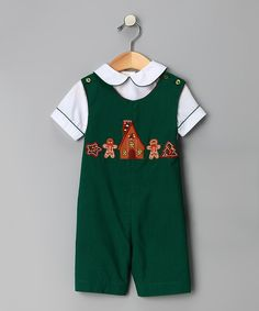 Take a look at this Green Gingerbread Smocked Romper & Bag - Infant & Toddler today!