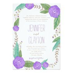 "Painted Florals Wedding Invitations 5"" X 7"" Invitation Card"