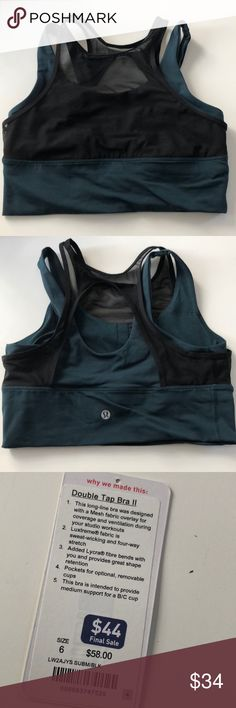 Lululemon Double Tap Bra Worn once.  This style runs slightly small in my opinion. lululemon athletica Intimates & Sleepwear Bras