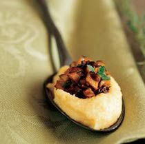 Polenta Bites with Caramelized Mushrooms - amazingly decadent appetizer served in a spoon...brilliant!