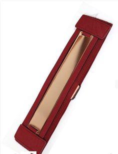 Burgundy Wide Stretch Gold Plated Belt