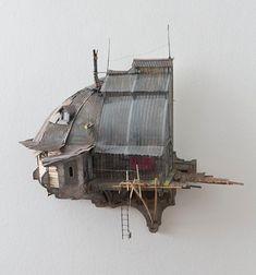 Steampunk Architecture, Post Apocalyptic City, Cardboard City, Architectural Sculpture, Art Nouveau, Environment Concept Art, Miniature Houses, Land Art, Art Plastique