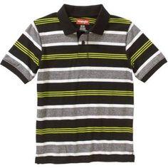 Wrangler Boys' Short Sleeve Stripe Polo, Size: 4/5, Black