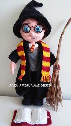 Wizard Boy-Amigurumi Crochet Pattern-PDF from ArzuAmigurumiDesigns on Etsy Studio Crochet Amigurumi, Crochet Doll Pattern, Amigurumi Patterns, Amigurumi Doll, Crochet Dolls, Doll Patterns, Crochet Patterns, Crochet Hats, Harry Potter Crochet