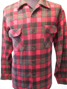 PENDLETON SHIRT Men's Size XL Red Plaid Flannel Wool Lumberjack Hunting Buffalo #Pendleton #ButtonFront