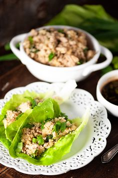 Low Carb Asian Chicken Lettuce Wraps - made with cauliflower fried rice and ground chicken for an easy Asian weeknight dinner! We love this healthy dinner!