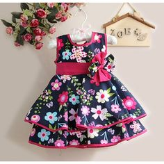 2012 New Girls Dresses Flower Printed Kids Dress Wholesale Infant Clothing Cute Outfits For Kids, Toddler Girl Outfits, Toddler Fashion, Kids Fashion, Baby Girl Dress Patterns, Baby Dress, Little Girl Dresses, Girls Dresses, Kids Indian Wear