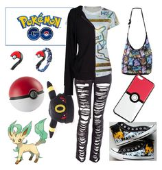 """""""Pokemon Go Outfit"""" by the-uninportant-emo ❤ liked on Polyvore featuring Converse, Velvet by Graham & Spencer, Pokemon and PokemonGO"""