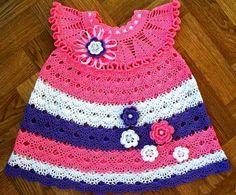 Shell Pattern Dress with 3D Flowers free crochet pattern