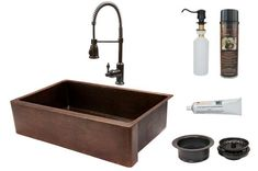 Premier Copper Products - KSP4_KASDB35229 Kitchen Sink, Faucet and Accessories Package  #coppersink #dreamkitchen #kitchensinkpackages