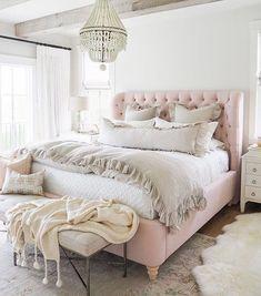 Rustic Bedroom/Pale Pink Bedding/Light Fixtures for the Bedroom/Bedroom Decor/Bedroom Inspiration Farmhouse Bedroom Decor, Home Decor Bedroom, Modern Bedroom, Bedrooms With White Furniture, Brown Bedroom Decor, Bedroom Rugs, Bedroom Wall, Off White Bedrooms, White Rustic Bedroom