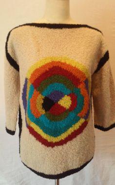 Vintage 70s The Broadway Women's Wool Blend Disco Psycheodelic Sweater Sz.Medium #TheBroadwaySouthernCalifornia