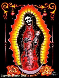 San la Muerte. She has developed a large following among warring Mexican drug hangs.