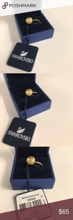 Swarovski ring gold with rose gold stones NWT gorgeous statement ring. Swarovski Jewelry Rings
