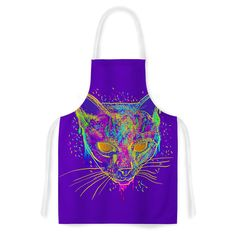 Kess InHouse Frederic Levy-Hadida 'Candy Cat Purple' Artistic Apron