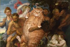 """""""Our life as Mews to the Great Artists We admire"""" by Zarathustra the Cat- Anthony-van-Dyck---Drunken-Silenus-supported-by-Satyrs with cat"""
