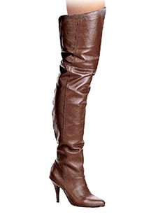 5c8b0297088 Sexy 4 Inch Heel Brown Leather Thigh High Boot 9     See this great