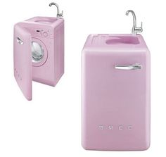 Smeg sink washing machine combo- although not crazy about the pink