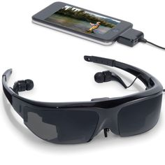 "Personal Media Viewer - provides a private viewing experience equivalent to watching a widescreen 55"" television from 10' away. It connects to a video iPod, iPod Touch, iPhone, portable DVD player, or personal video game system and uses two high-resolution LCDs and dual stereo noise isolating earphones."