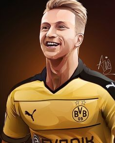 Football Art, Football Players, Soccer Drawing, Vector Portrait, Drawings, Illustration, Fictional Characters, Hs Sports, Marco Reus
