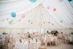 Marquee decorated for a pastel colour summer wedding   Photography by http://www.katherineashdown.co.uk/