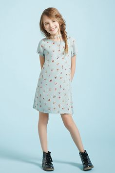 Girls Floral T-Shirt Dress (Kids)  *Styling with blue background
