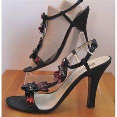 PRADA black  burgundy jeweled embellished satin sandals - sz 37 1/2, 7.5