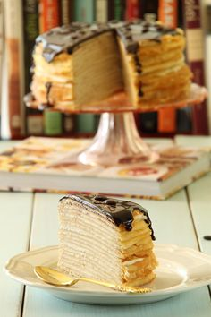 French crepe cake with custard filling and chocolate ganache