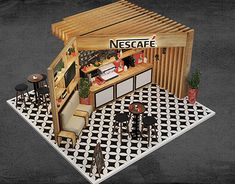 Discover recipes, home ideas, style inspiration and other ideas to try. Cafe Shop Design, Kiosk Design, Cafe Interior Design, Design Design, Graphic Design, Exhibition Stand Design, Exhibition Stall, Cafe Central, Nescafe