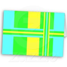Yellow Green and Blue Stripes Greeting Card