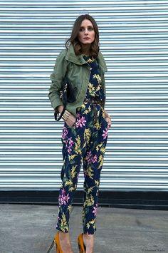 utility jacket + floral jump suit